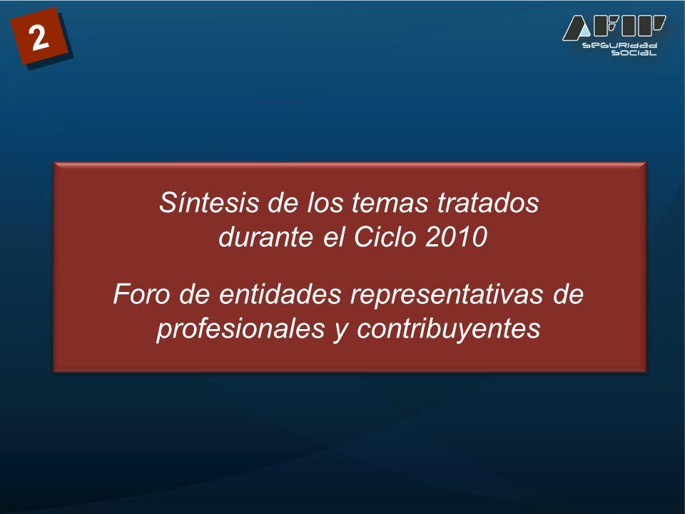 Síntesis de los temas tratados durante el Ciclo 2010 Foro de entidades representativas de profesionales y contribuyentes 2