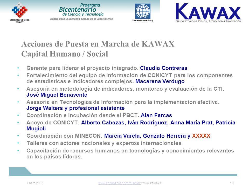 Enero 2006www.conicyt.cl/bancomundialwww.conicyt.cl/bancomundial y www.kawax.cl10 Acciones de Puesta en Marcha de KAWAX Capital Humano / Social Gerente para liderar el proyecto integrado.