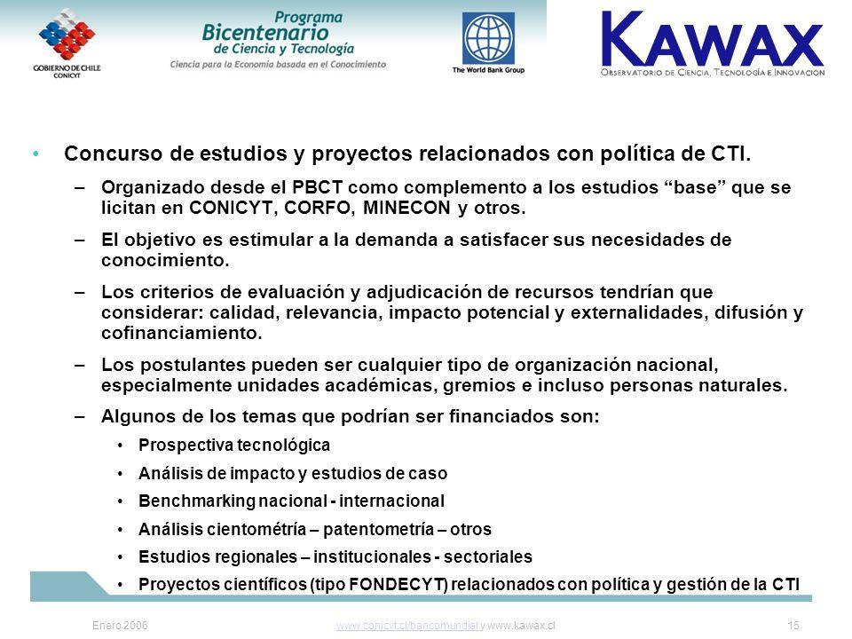 Enero 2006www.conicyt.cl/bancomundialwww.conicyt.cl/bancomundial y www.kawax.cl15 Concurso de estudios y proyectos relacionados con política de CTI.