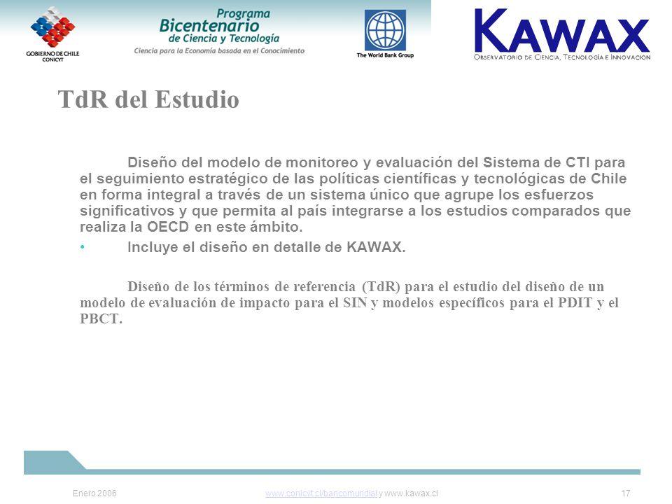 Enero 2006www.conicyt.cl/bancomundialwww.conicyt.cl/bancomundial y www.kawax.cl17 TdR del Estudio Diseño del modelo de monitoreo y evaluación del Sistema de CTI para el seguimiento estratégico de las políticas científicas y tecnológicas de Chile en forma integral a través de un sistema único que agrupe los esfuerzos significativos y que permita al país integrarse a los estudios comparados que realiza la OECD en este ámbito.