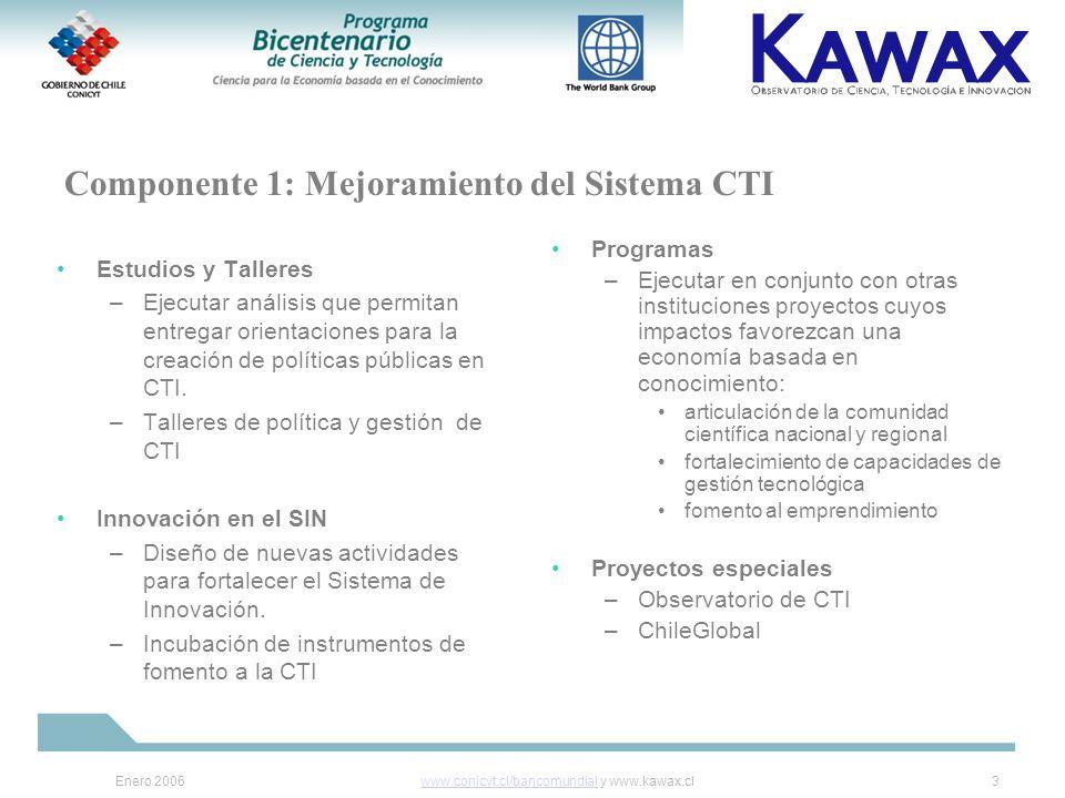 Enero 2006www.conicyt.cl/bancomundialwww.conicyt.cl/bancomundial y www.kawax.cl3 Componente 1: Mejoramiento del Sistema CTI Estudios y Talleres –Ejecutar análisis que permitan entregar orientaciones para la creación de políticas públicas en CTI.