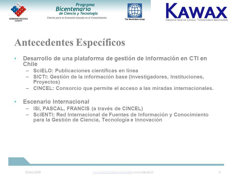 Enero 2006www.conicyt.cl/bancomundialwww.conicyt.cl/bancomundial y www.kawax.cl9 Antecedentes Específicos Desarrollo de una plataforma de gestión de información en CTI en Chile –SciELO: Publicaciones científicas en línea –SICTI: Gestión de la información base (Investigadores, Instituciones, Proyectos) –CINCEL: Consorcio que permite el acceso a las miradas internacionales.