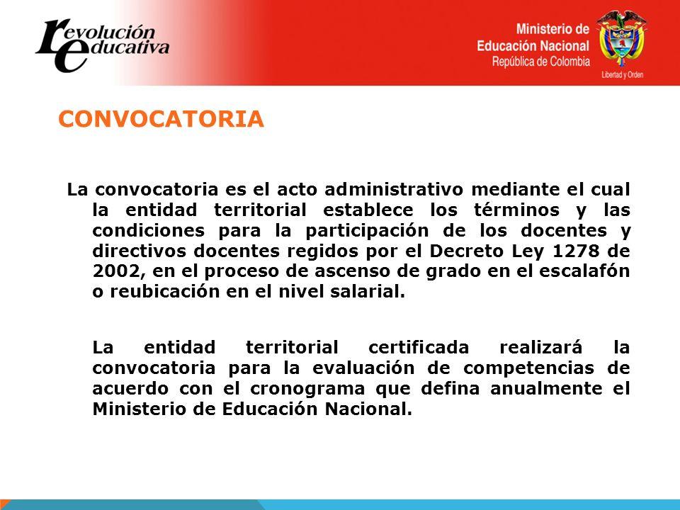 CONVOCATORIA La convocatoria es el acto administrativo mediante el cual la entidad territorial establece los términos y las condiciones para la partic