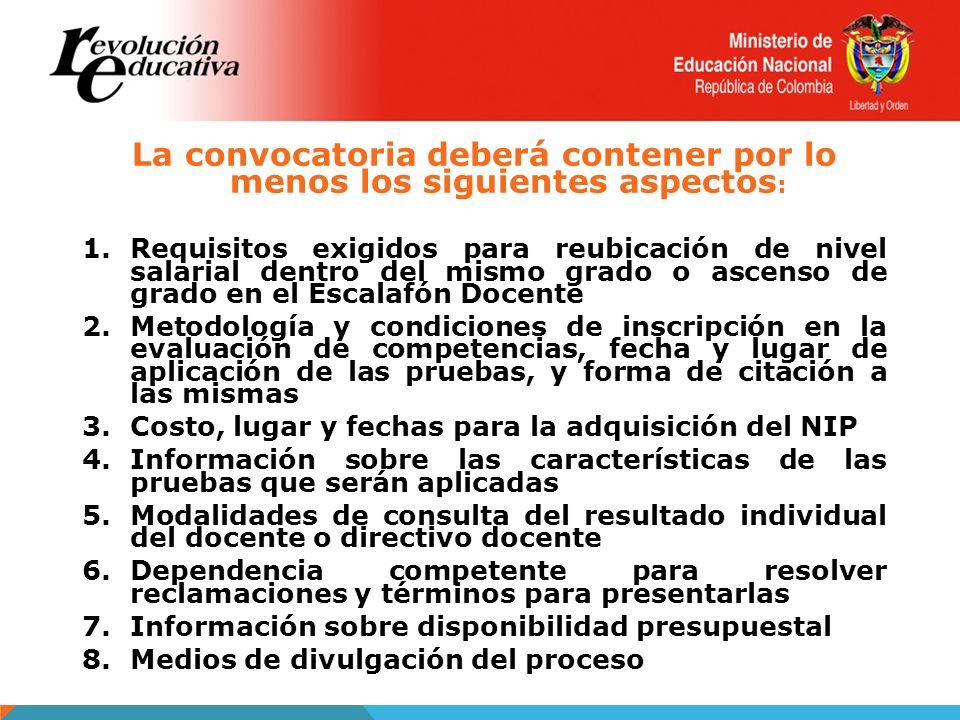 La convocatoria deberá contener por lo menos los siguientes aspectos : 1.Requisitos exigidos para reubicación de nivel salarial dentro del mismo grado