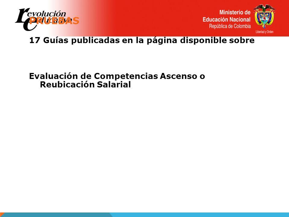 PRUEBAS 17 Guías publicadas en la página disponible sobre Evaluación de Competencias Ascenso o Reubicación Salarial