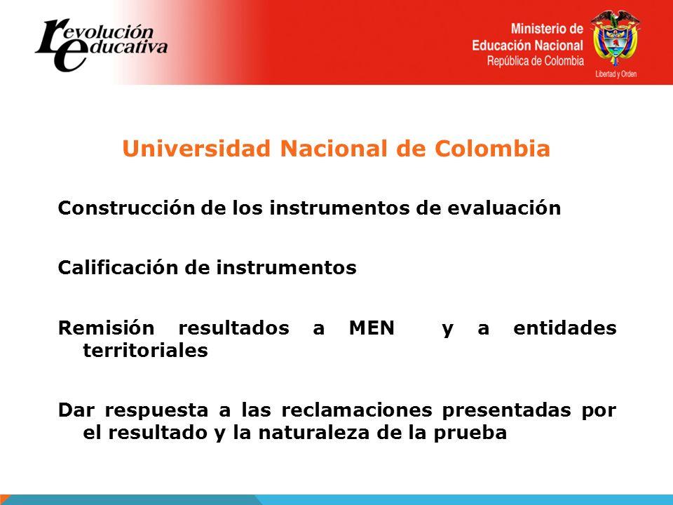 Universidad Nacional de Colombia Construcción de los instrumentos de evaluación Calificación de instrumentos Remisión resultados a MEN y a entidades t
