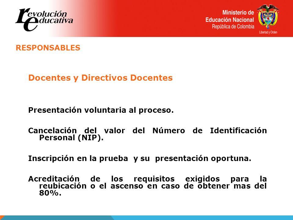RESPONSABLES Docentes y Directivos Docentes Presentación voluntaria al proceso. Cancelación del valor del Número de Identificación Personal (NIP). Ins