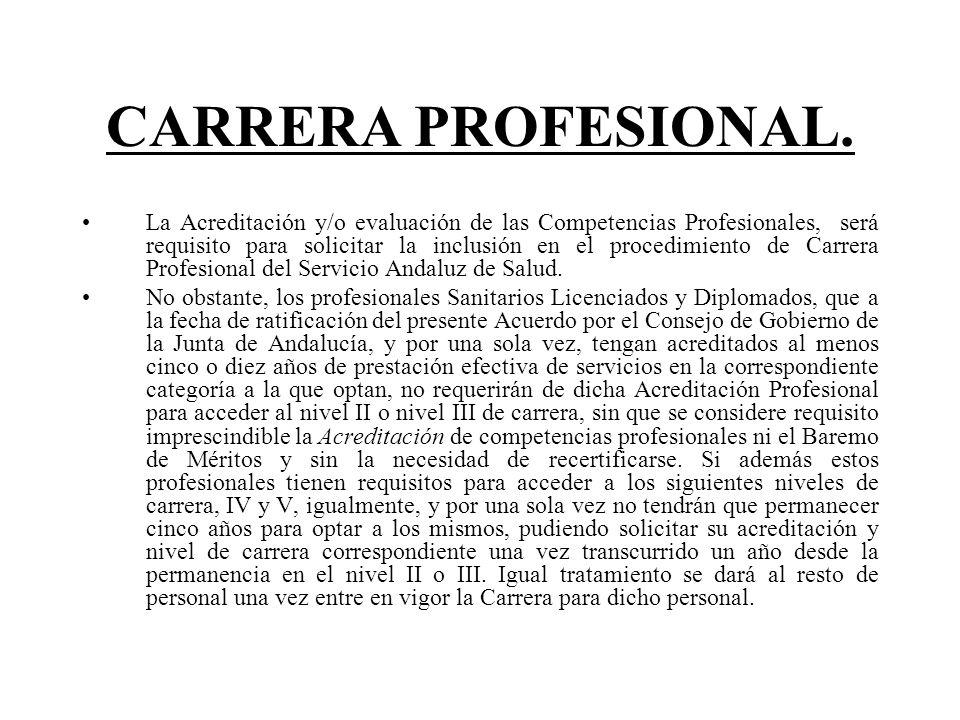 CARRERA PROFESIONAL. La Acreditación y/o evaluación de las Competencias Profesionales, será requisito para solicitar la inclusión en el procedimiento