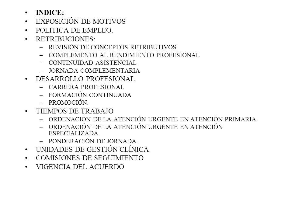 INDICE: EXPOSICIÓN DE MOTIVOS POLITICA DE EMPLEO. RETRIBUCIONES: –REVISIÓN DE CONCEPTOS RETRIBUTIVOS –COMPLEMENTO AL RENDIMIENTO PROFESIONAL –CONTINUI
