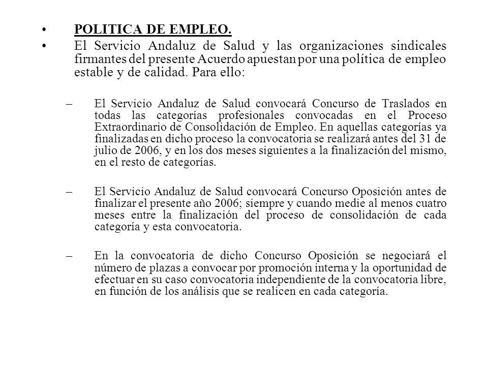 POLITICA DE EMPLEO. El Servicio Andaluz de Salud y las organizaciones sindicales firmantes del presente Acuerdo apuestan por una política de empleo es