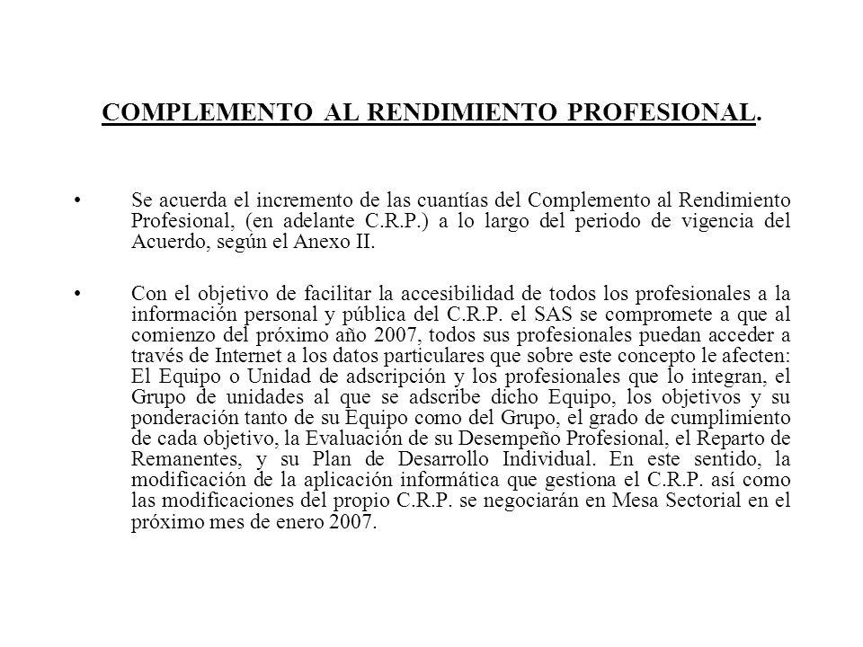 COMPLEMENTO AL RENDIMIENTO PROFESIONAL. Se acuerda el incremento de las cuantías del Complemento al Rendimiento Profesional, (en adelante C.R.P.) a lo
