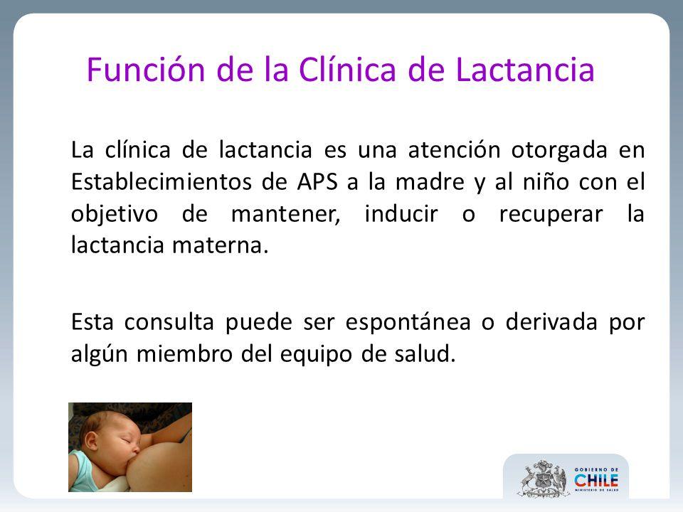 Función de la Clínica de Lactancia La clínica de lactancia es una atención otorgada en Establecimientos de APS a la madre y al niño con el objetivo de mantener, inducir o recuperar la lactancia materna.