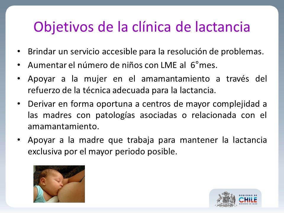 Objetivos de la clínica de lactancia Brindar un servicio accesible para la resolución de problemas. Aumentar el número de niños con LME al 6°mes. Apoy