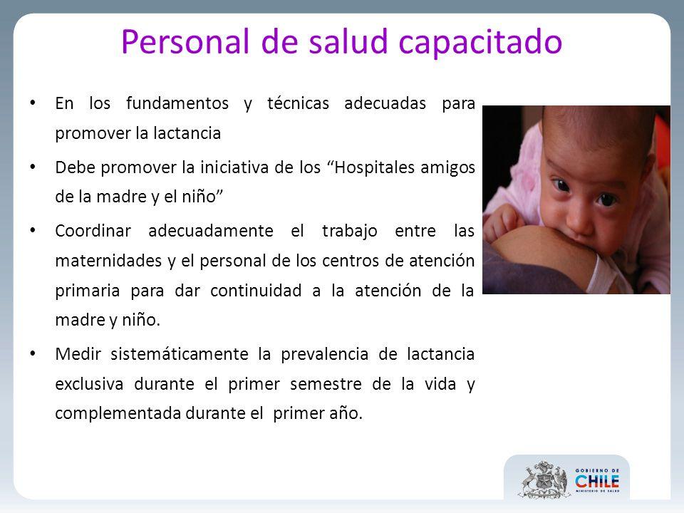Personal de salud capacitado En los fundamentos y técnicas adecuadas para promover la lactancia Debe promover la iniciativa de los Hospitales amigos d