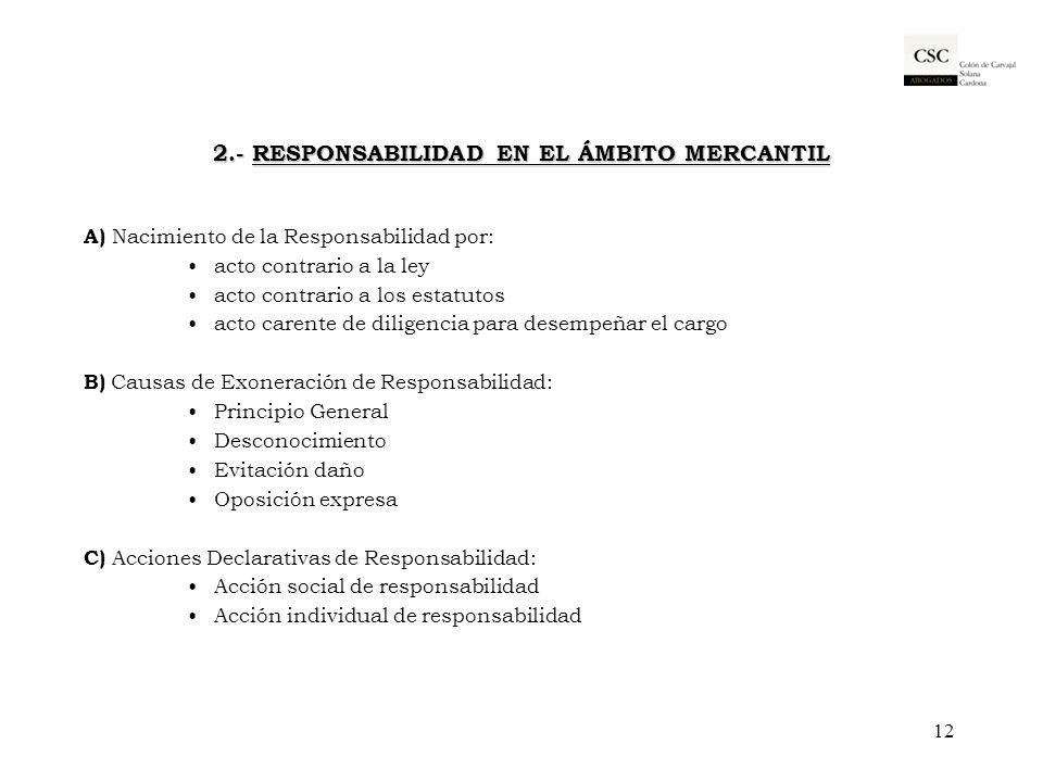 2.- RESPONSABILIDAD EN EL ÁMBITO MERCANTIL A) Nacimiento de la Responsabilidad por: acto contrario a la ley acto contrario a los estatutos acto carent