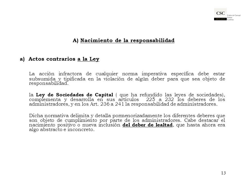 A) Nacimiento de la responsabilidad a) Actos contrarios a la Ley La acción infractora de cualquier norma imperativa específica debe estar subsumida y
