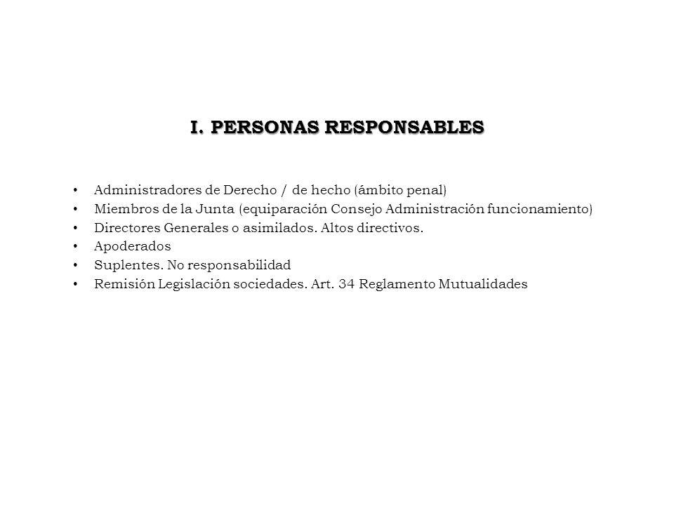 I. PERSONAS RESPONSABLES Administradores de Derecho / de hecho (ámbito penal) Miembros de la Junta (equiparación Consejo Administración funcionamiento