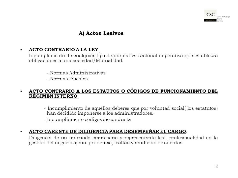 A) Actos Lesivos ACTO CONTRARIO A LA LEY : Incumplimiento de cualquier tipo de normativa sectorial imperativa que establezca obligaciones a una socied