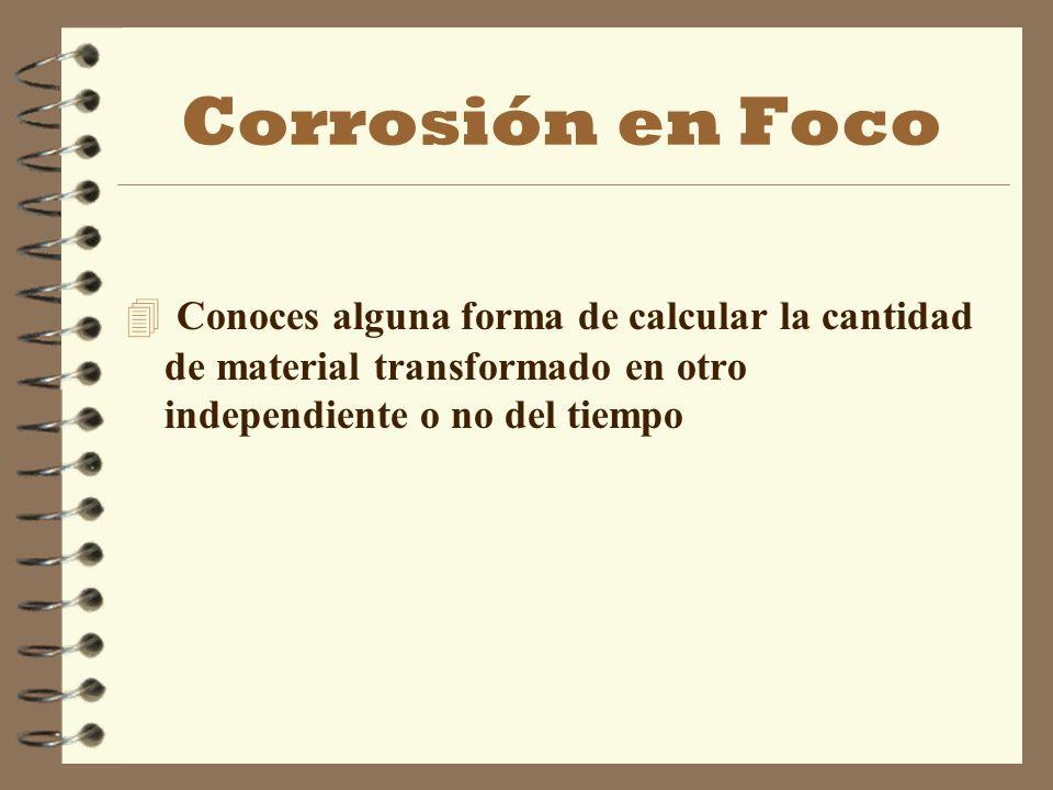 Corrosión en Foco 4 Conoces alguna forma de calcular la cantidad de material transformado en otro independiente o no del tiempo