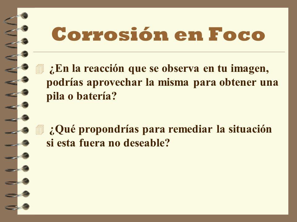 Corrosión en Foco 4 ¿En la reacción que se observa en tu imagen, podrías aprovechar la misma para obtener una pila o batería? 4 ¿Qué propondrías para
