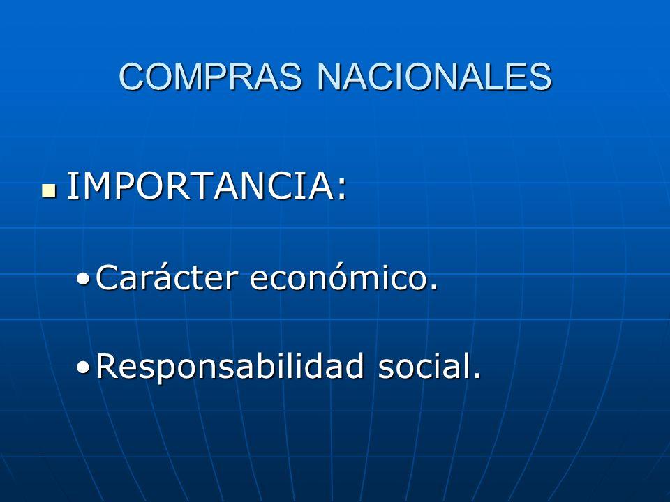 COMPRAS NACIONALES IMPORTANCIA: IMPORTANCIA: Carácter económico.Carácter económico. Responsabilidad social.Responsabilidad social.
