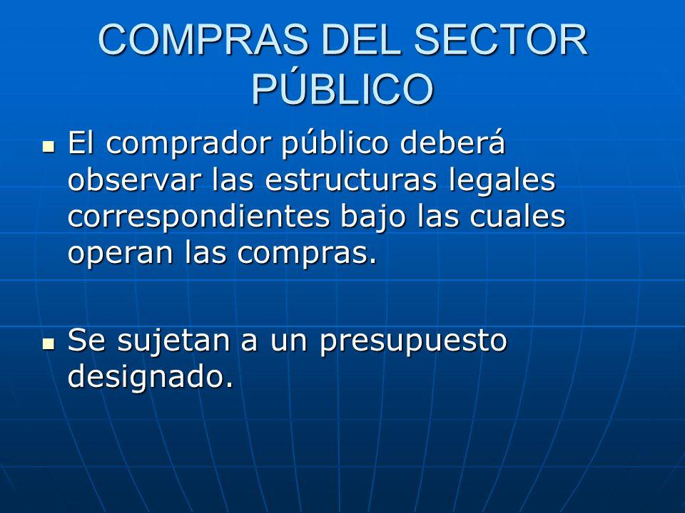 COMPRAS DEL SECTOR PÚBLICO El comprador público deberá observar las estructuras legales correspondientes bajo las cuales operan las compras. El compra