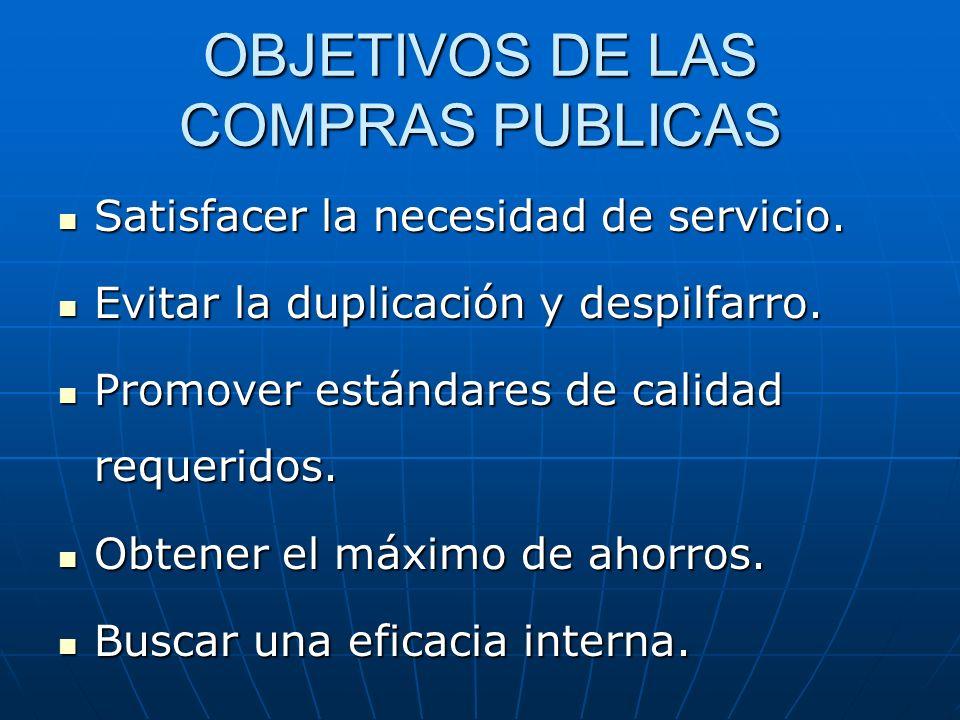 OBJETIVOS DE LAS COMPRAS PUBLICAS Satisfacer la necesidad de servicio. Satisfacer la necesidad de servicio. Evitar la duplicación y despilfarro. Evita