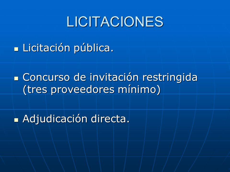 LICITACIONES Licitación pública. Licitación pública. Concurso de invitación restringida (tres proveedores mínimo) Concurso de invitación restringida (
