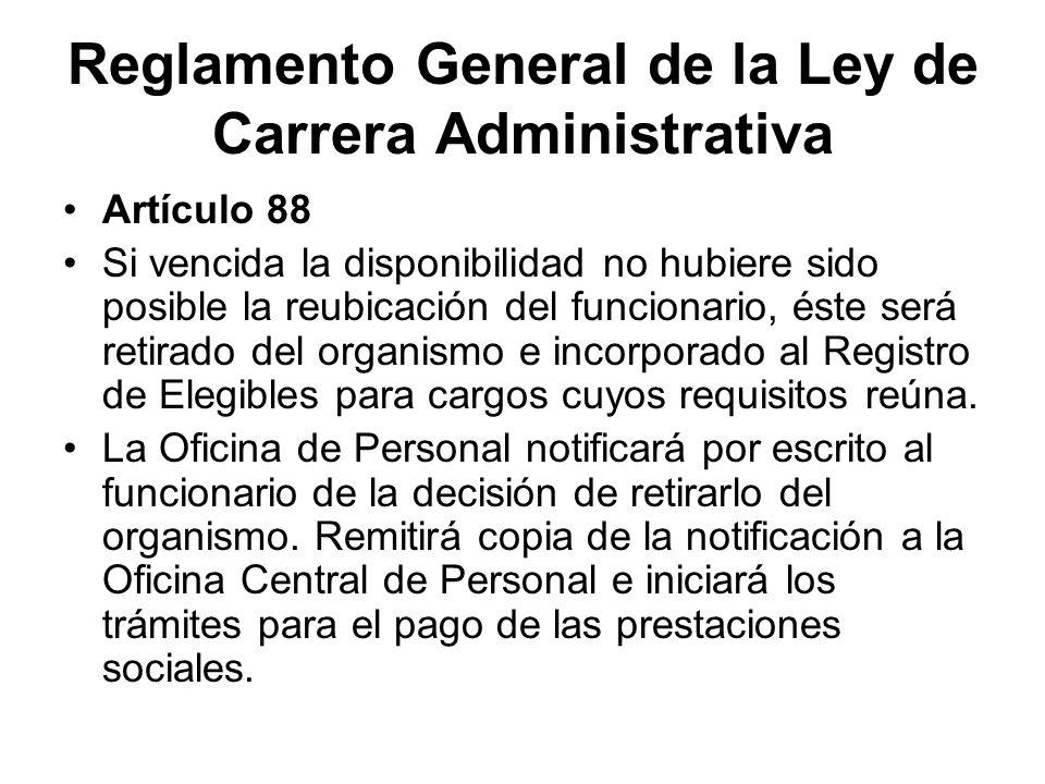 Reglamento General de la Ley de Carrera Administrativa Artículo 88 Si vencida la disponibilidad no hubiere sido posible la reubicación del funcionario