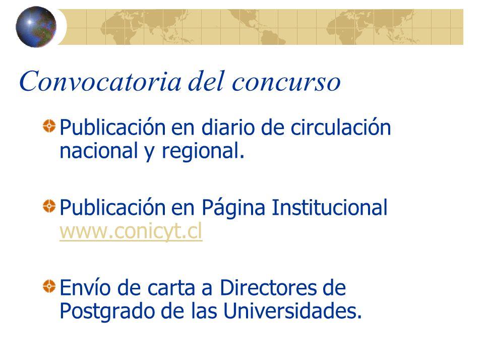 Convocatoria del concurso Publicación en diario de circulación nacional y regional.