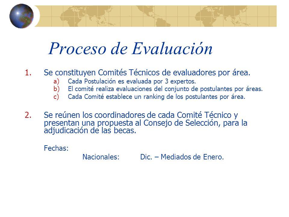 Proceso de Evaluación 1.Se constituyen Comités Técnicos de evaluadores por área.