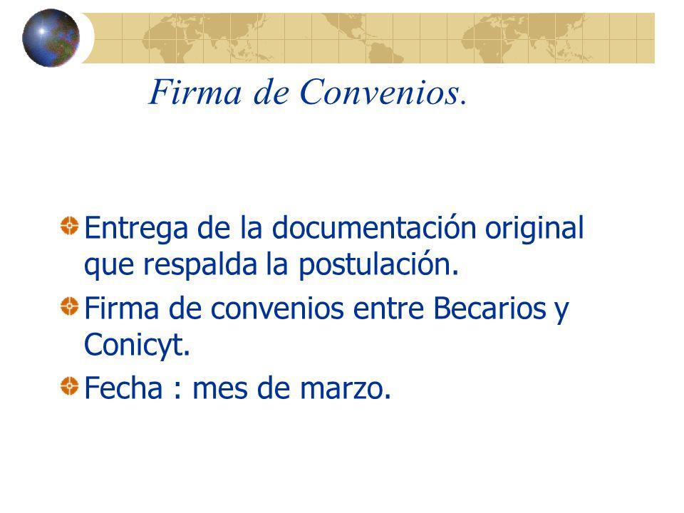Firma de Convenios.Entrega de la documentación original que respalda la postulación.