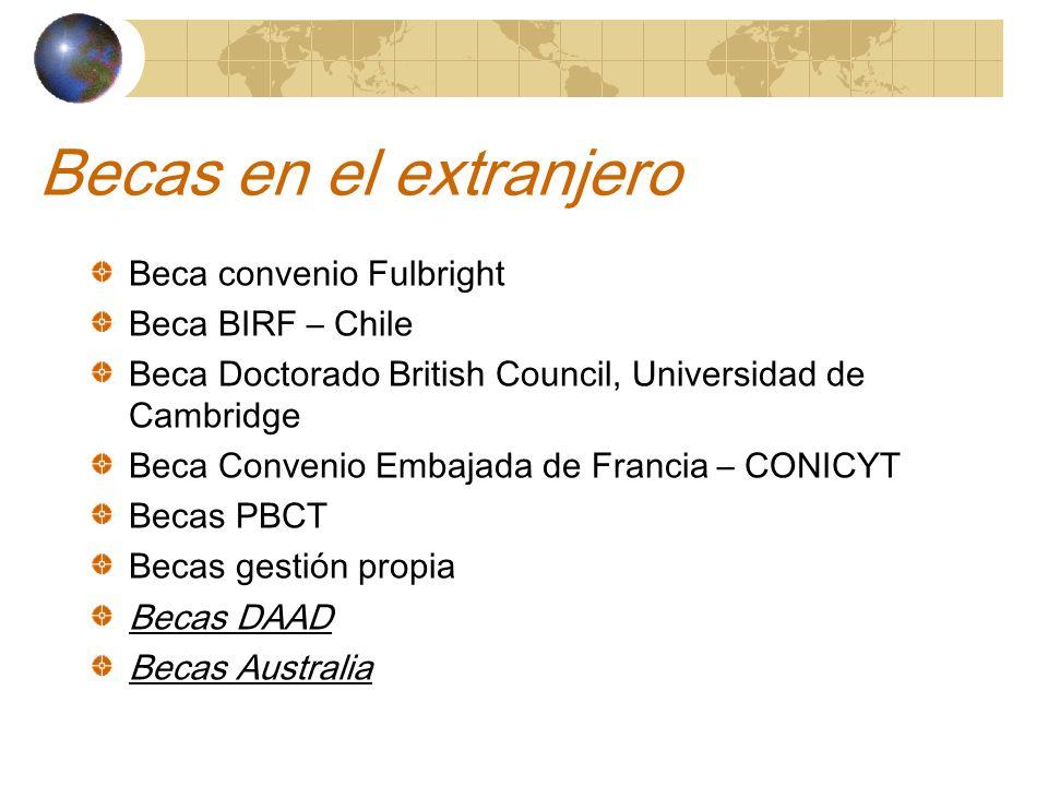 Becas en el extranjero Beca convenio Fulbright Beca BIRF – Chile Beca Doctorado British Council, Universidad de Cambridge Beca Convenio Embajada de Francia – CONICYT Becas PBCT Becas gestión propia Becas DAAD Becas Australia
