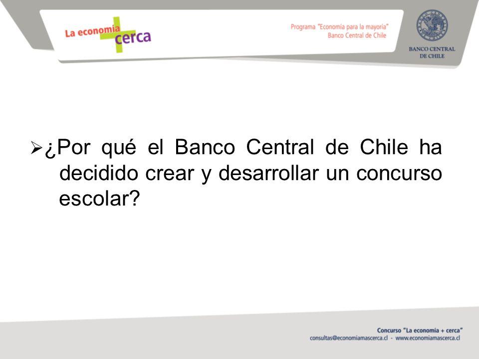 ¿Por qué el Banco Central de Chile ha decidido crear y desarrollar un concurso escolar?