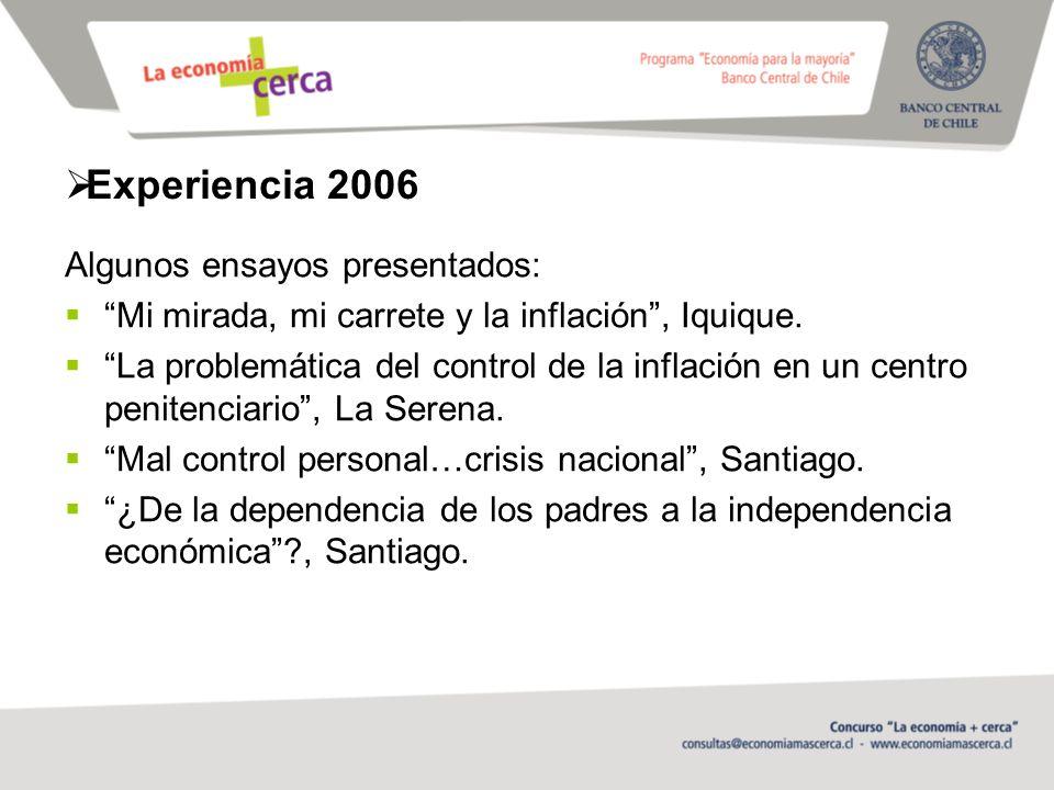 Experiencia 2006 Algunos ensayos presentados: Mi mirada, mi carrete y la inflación, Iquique.