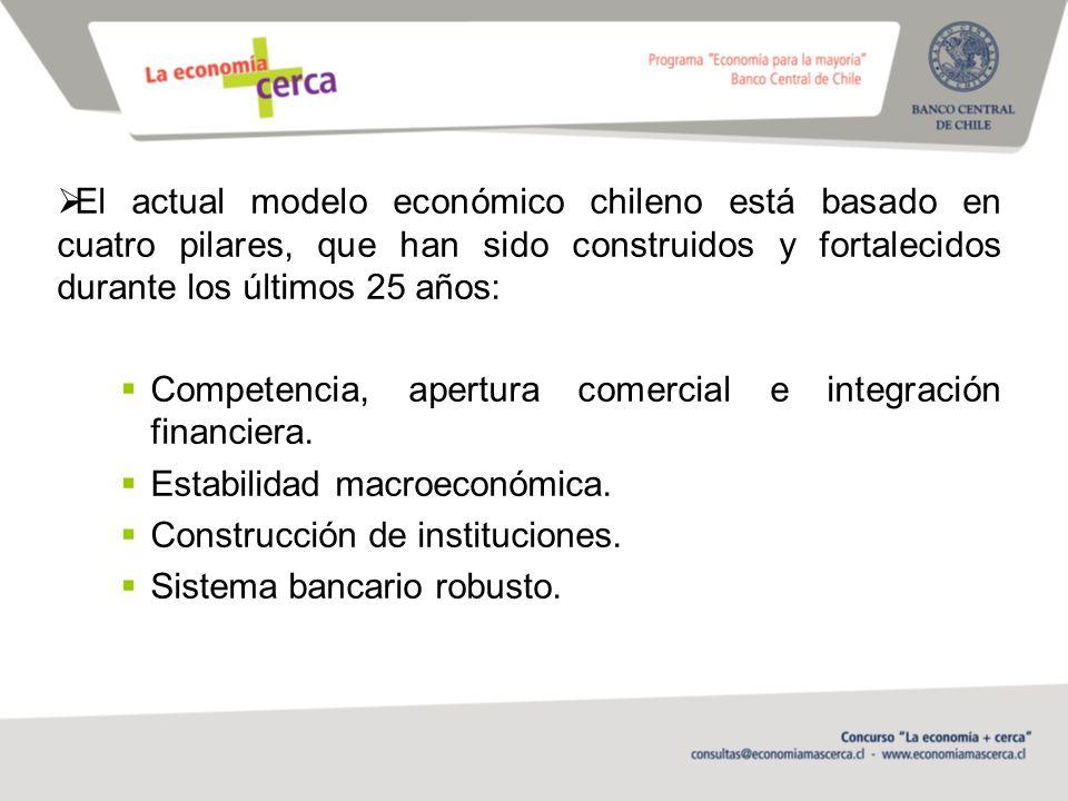 El actual modelo económico chileno está basado en cuatro pilares, que han sido construidos y fortalecidos durante los últimos 25 años: Competencia, apertura comercial e integración financiera.