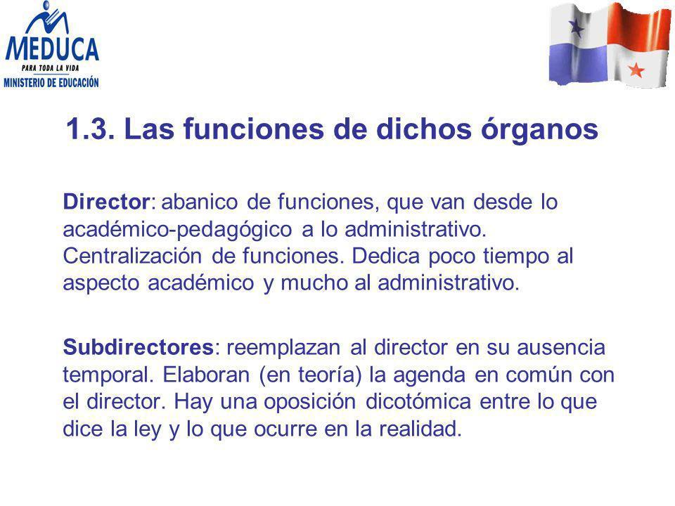1.3. Las funciones de dichos órganos Director: abanico de funciones, que van desde lo académico-pedagógico a lo administrativo. Centralización de func
