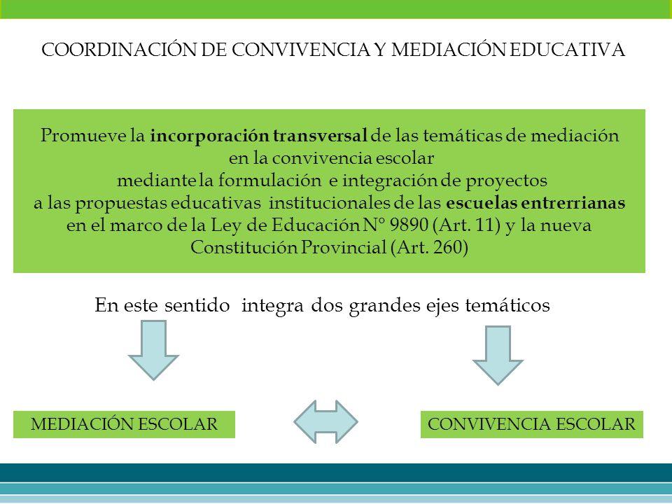 Promueve la incorporación transversal de las temáticas de mediación en la convivencia escolar mediante la formulación e integración de proyectos a las