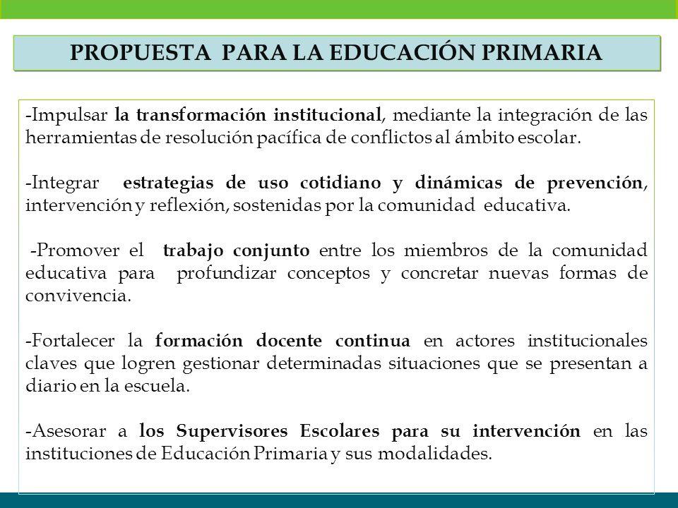 -Impulsar la transformación institucional, mediante la integración de las herramientas de resolución pacífica de conflictos al ámbito escolar. -Integr