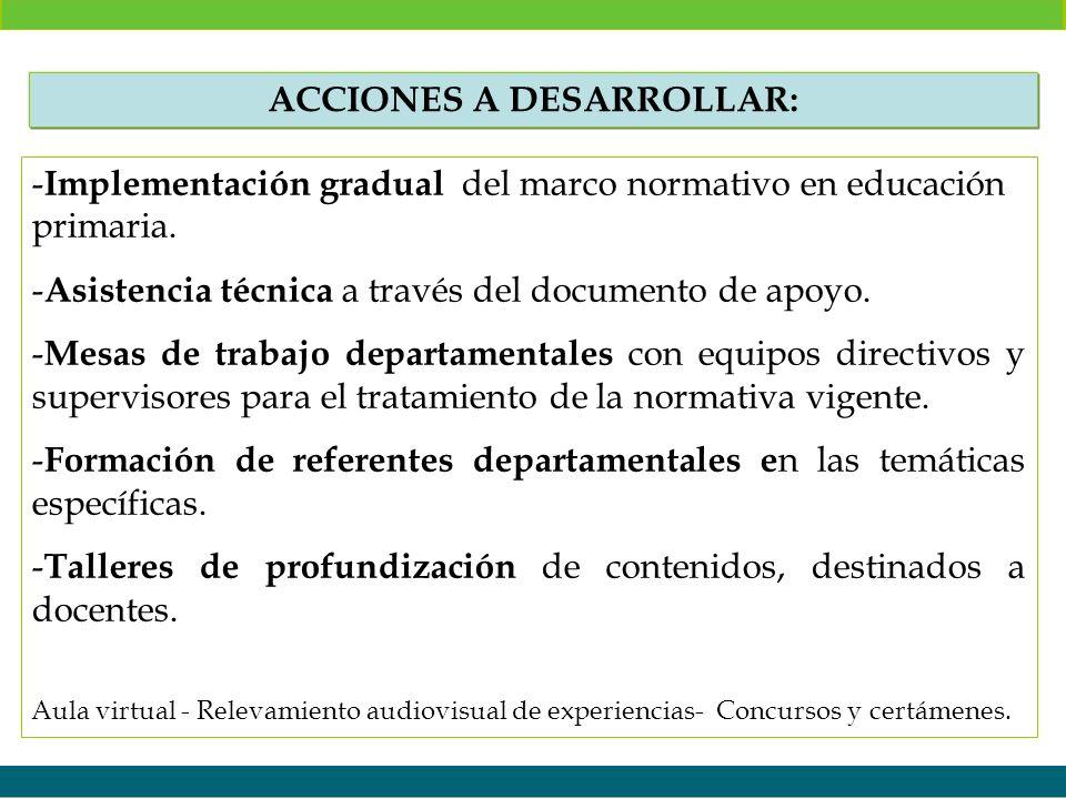 - Implementación gradual del marco normativo en educación primaria. - Asistencia técnica a través del documento de apoyo. - Mesas de trabajo departame