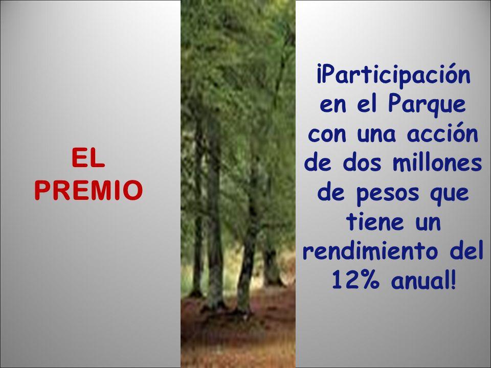 EL PREMIO ¡Participación en el Parque con una acción de dos millones de pesos que tiene un rendimiento del 12% anual!