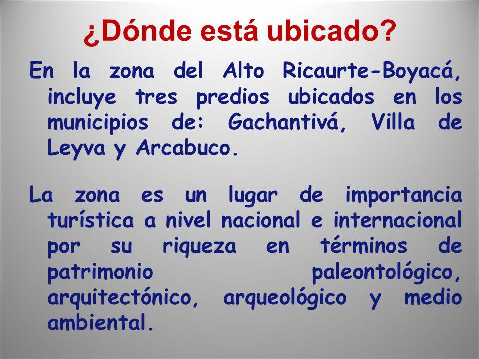 ¿Dónde está ubicado? En la zona del Alto Ricaurte-Boyacá, incluye tres predios ubicados en los municipios de: Gachantivá, Villa de Leyva y Arcabuco. L