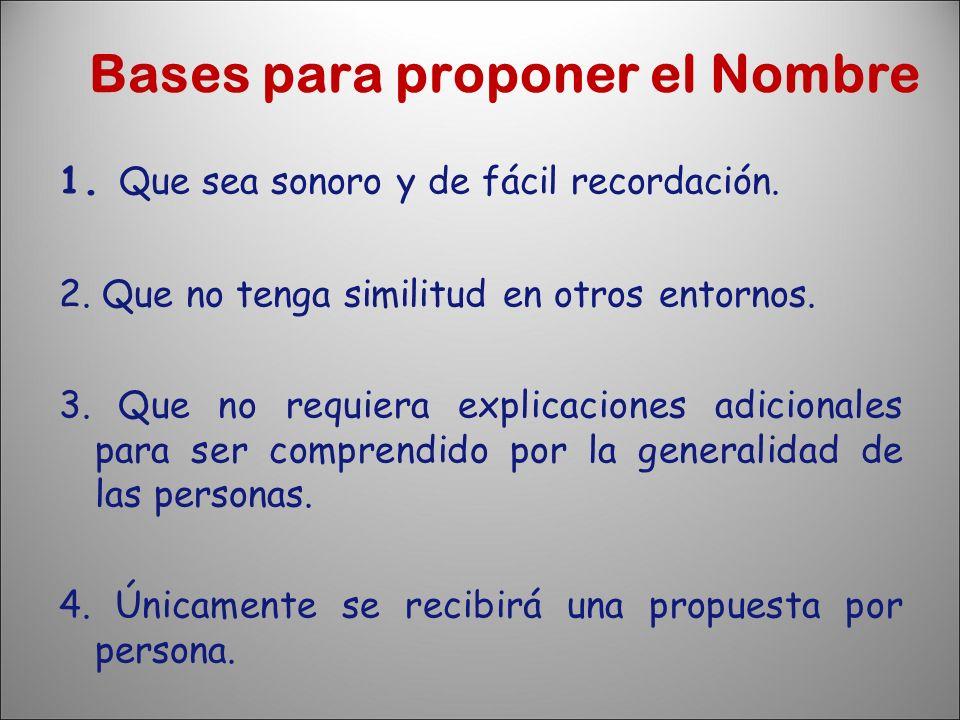 Bases para proponer el Nombre 1. Que sea sonoro y de fácil recordación. 2. Que no tenga similitud en otros entornos. 3. Que no requiera explicaciones