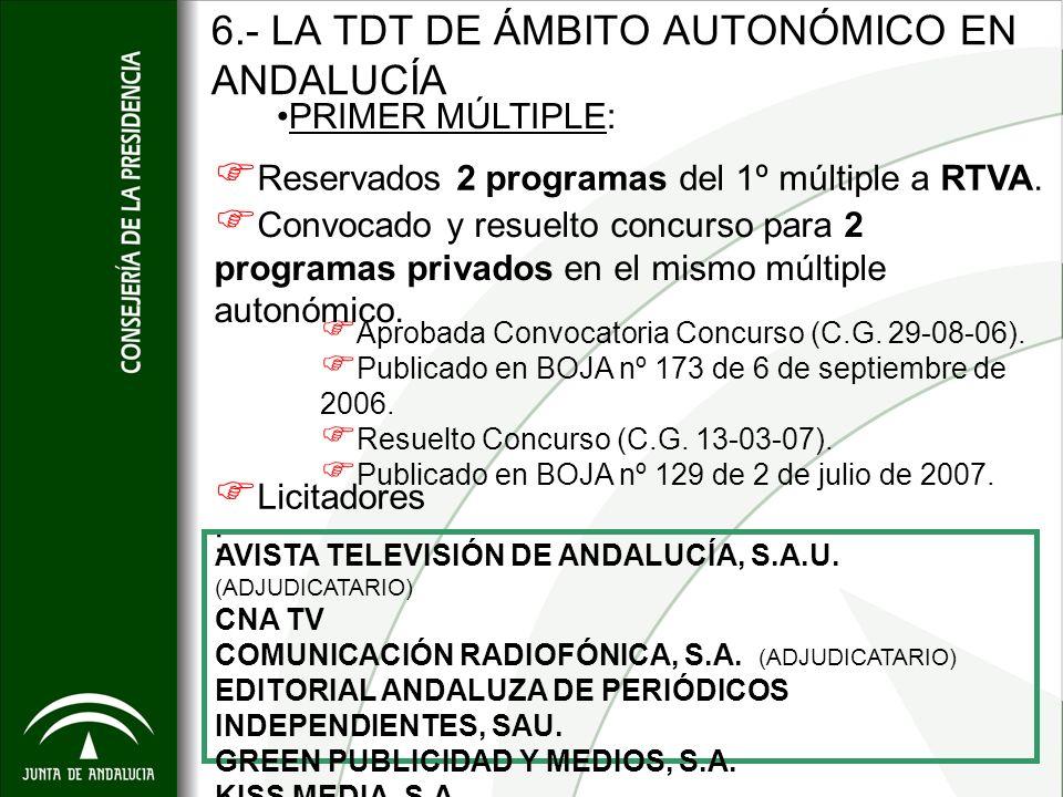 6.- LA TDT DE ÁMBITO AUTONÓMICO EN ANDALUCÍA Aprobada Convocatoria Concurso (C.G. 29-08-06). Publicado en BOJA nº 173 de 6 de septiembre de 2006. Resu