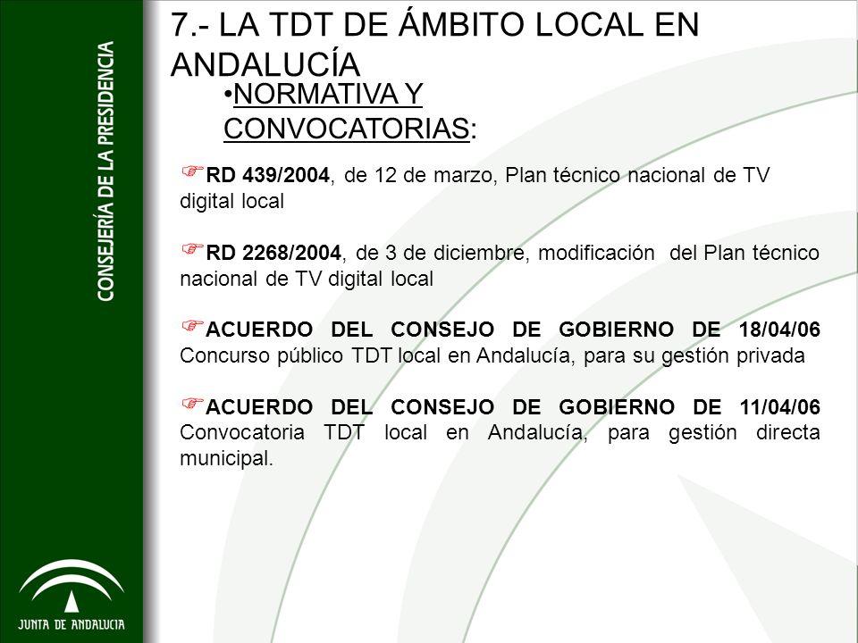 7.- LA TDT DE ÁMBITO LOCAL EN ANDALUCÍA RD 439/2004, de 12 de marzo, Plan técnico nacional de TV digital local RD 2268/2004, de 3 de diciembre, modifi