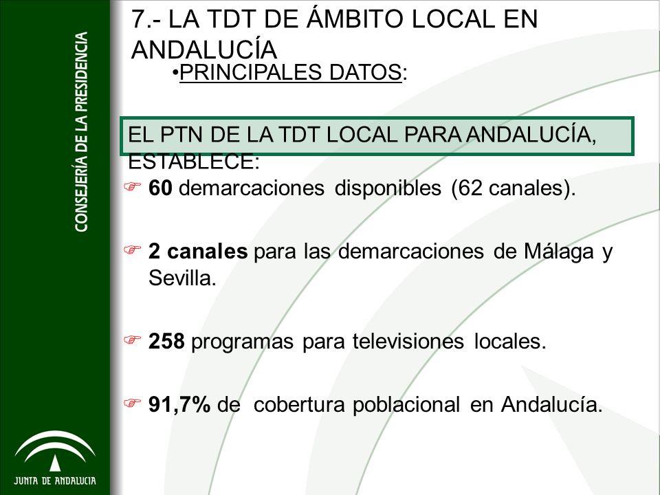 7.- LA TDT DE ÁMBITO LOCAL EN ANDALUCÍA 60 demarcaciones disponibles (62 canales). 2 canales para las demarcaciones de Málaga y Sevilla. 258 programas