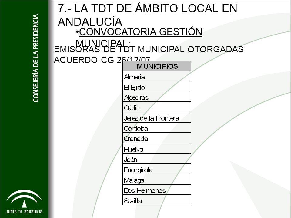 7.- LA TDT DE ÁMBITO LOCAL EN ANDALUCÍA EMISORAS DE TDT MUNICIPAL OTORGADAS ACUERDO CG 26/12/07 CONVOCATORIA GESTIÓN MUNICIPAL: