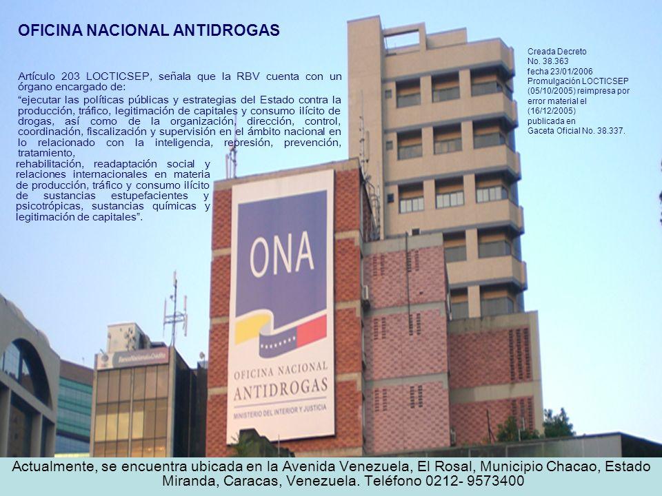 OFICINA NACIONAL ANTIDROGAS Creada Decreto No. 38.363 fecha 23/01/2006 Promulgación LOCTICSEP (05/10/2005) reimpresa por error material el (16/12/2005