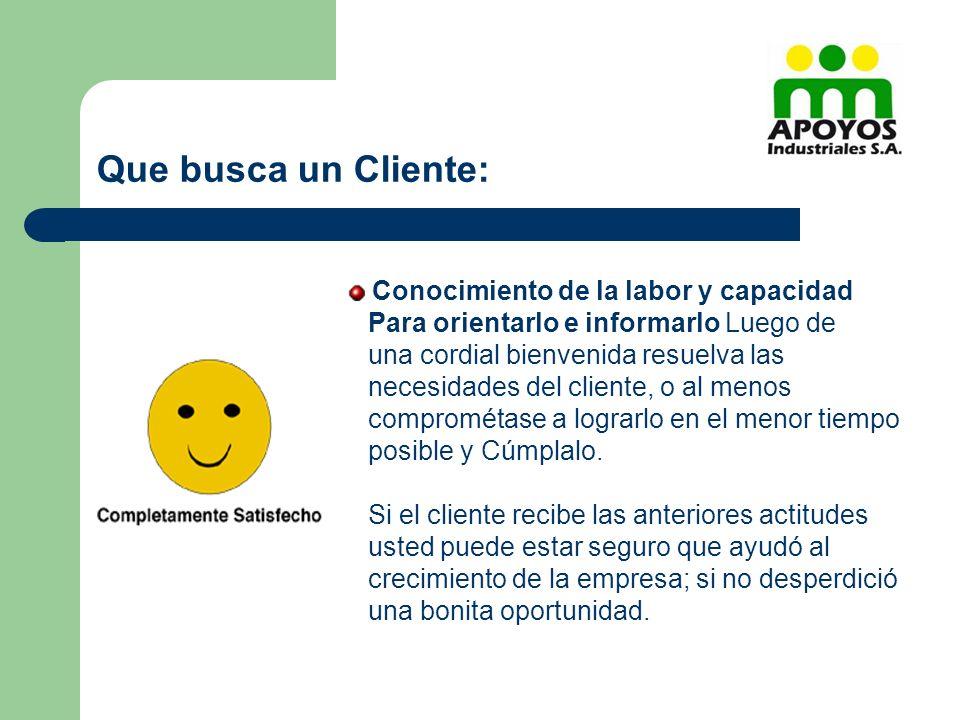 Conocimiento de la labor y capacidad Para orientarlo e informarlo Luego de una cordial bienvenida resuelva las necesidades del cliente, o al menos com