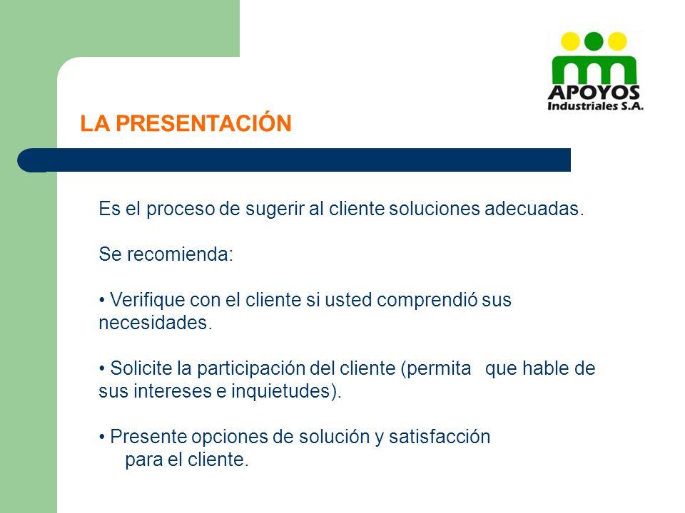 Es el proceso de sugerir al cliente soluciones adecuadas. Se recomienda: Verifique con el cliente si usted comprendió sus necesidades. Solicite la par